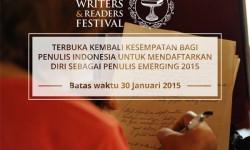Pendaftaran Penulis Emerging 2015 berakhir 30 Januari 2015